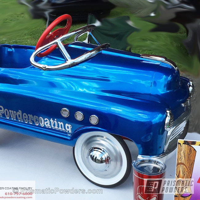 Powder Coating: Automotive,SUPER CHROME USS-4482,chrome,Peeka Blue PPS-4351,Pedal Car