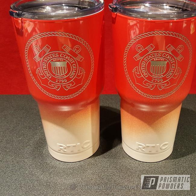 Powder Coating: H.D. WHITE PEARL PMB-2214,Tumbler,cup,Hot Orange PSS-1627,mug,Miscellaneous