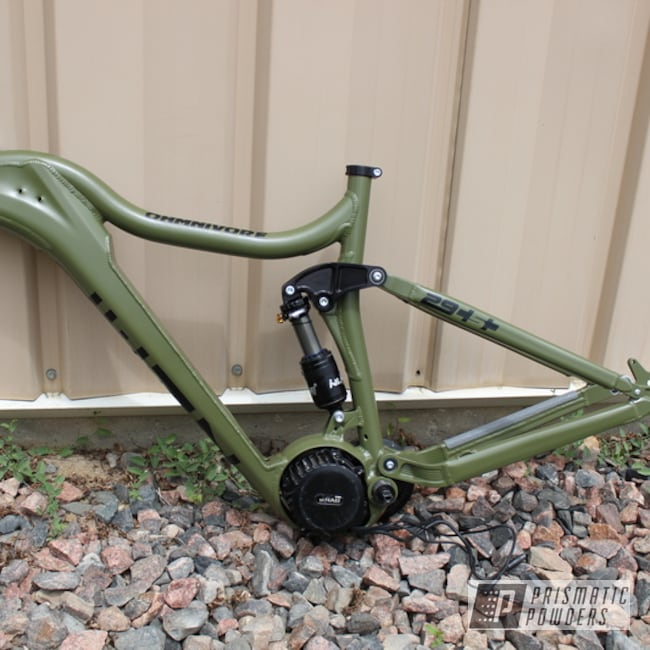 Powder Coating: Single Powder Application,Bicycles,Custom Bicycle Frame,Army Green PSB-4944