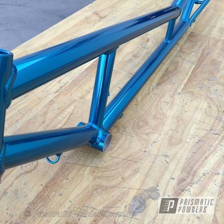 Powder Coating: Bicycles,SUPER CHROME USS-4482,Bike Frame,chrome,MAGIC TEAL UPB-4568