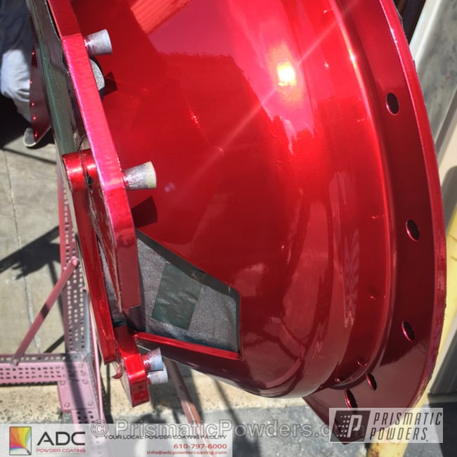 Powder Coating: Automotive,SUPER CHROME USS-4482,chrome,LOLLYPOP RED UPS-1506,Bell Housing