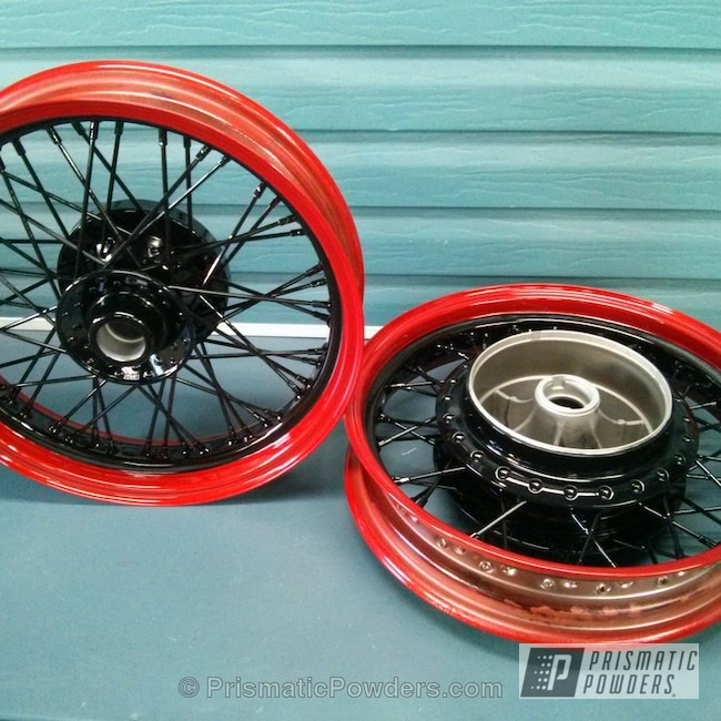 Powder Coating: Custom Rims,Clear Vision PPS-2974,GLOSS BLACK USS-2603,Illusion Red PMS-4515,Motorcycle Wheels,Motorcycles
