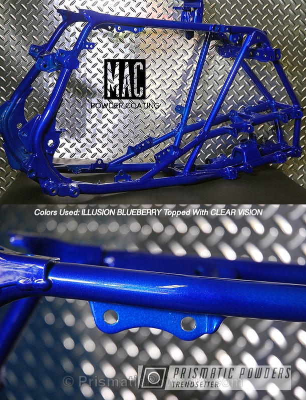 Powder Coating: Clear Vision PPS-2974,ATV,blue,Illusion Blueberry PMB-6908,powder coated,Frame