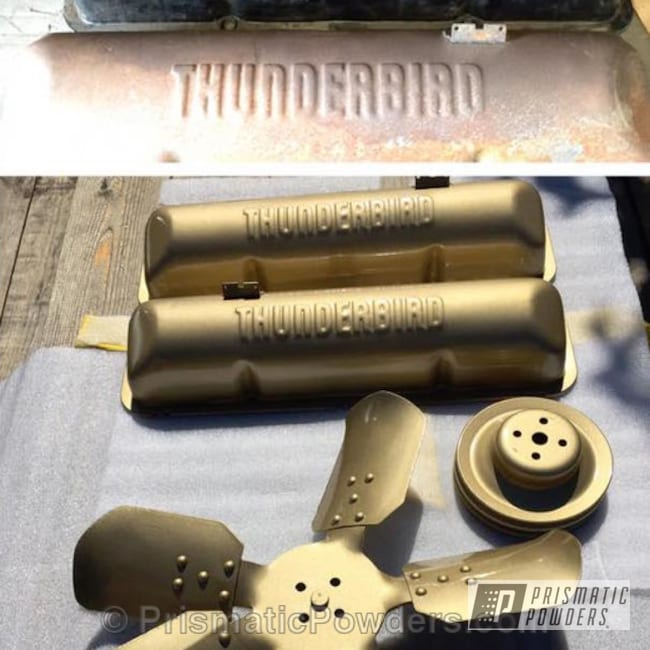 Powder Coating: Thunderbird parts,Automotive,Clear Vision PPS-2974,powder coated,Before and After,Gold