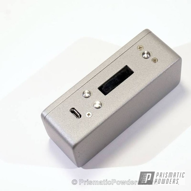 Powder Coating: silver texture,powder coated,Tin Foil Silver PTB-7103,Textured,Box Mod,Hammond 1590A enclosure,Miscellaneous