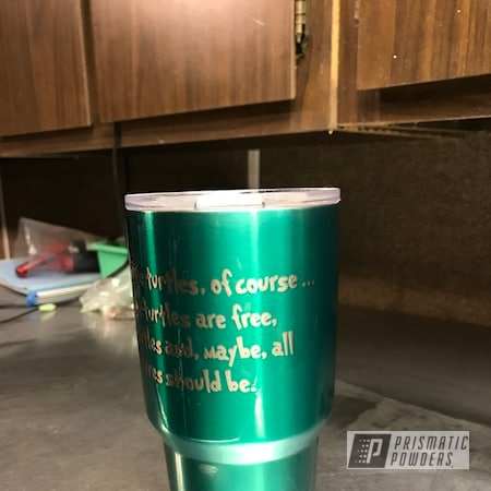 Powder Coating: Clear Vision PPS-2974,SEA BREEZE UPB-8161,Tumbler,Two Stage Application,Infinity Turtles,Ozark Trail Cup,Clear Top Coat,Custom Tumbler Cup,Miscellaneous