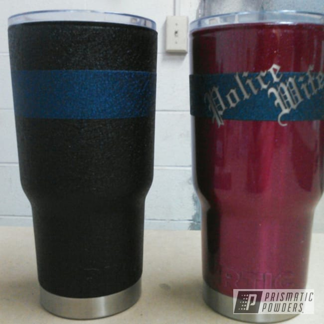Powder Coating: Tumbler,RACING RASPBERRY UPB-6610,RTIC,Thin Blue Line,police wife,powder coated,Splatter Midnight PWB-2880,Splatter Black PWS-4344,Red,Police,Blue,Tumblers,Miscellaneous