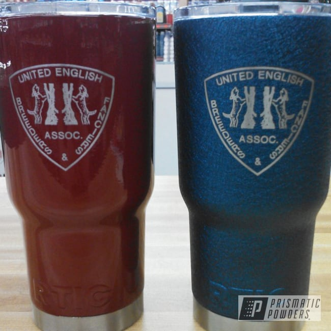 Powder Coating: Tumbler,RTIC,Red,Blue,powder coated,Splatter Midnight PWB-2880,Tumblers,Light Cherry Red PSS-1423,Textured,Miscellaneous