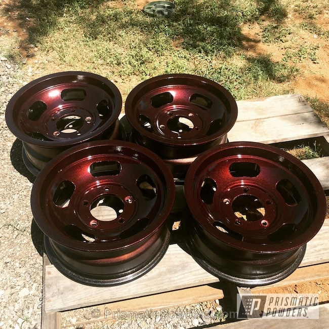 Powder Coating: Wheels,Multi-Powder Application,Automotive,Clear Vision PPS-2974,MIXED BERRY UPB-5992,Clear Top Coat Applied,Old School Slots,VW Black PMB-2650