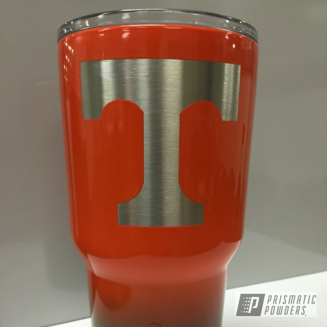 Powder Coating: RAL 2009 Traffic Orange,Tumbler,Jewel Grey PSS-4008,Powder Coated Tennessee Vols Tumbler,Miscellaneous