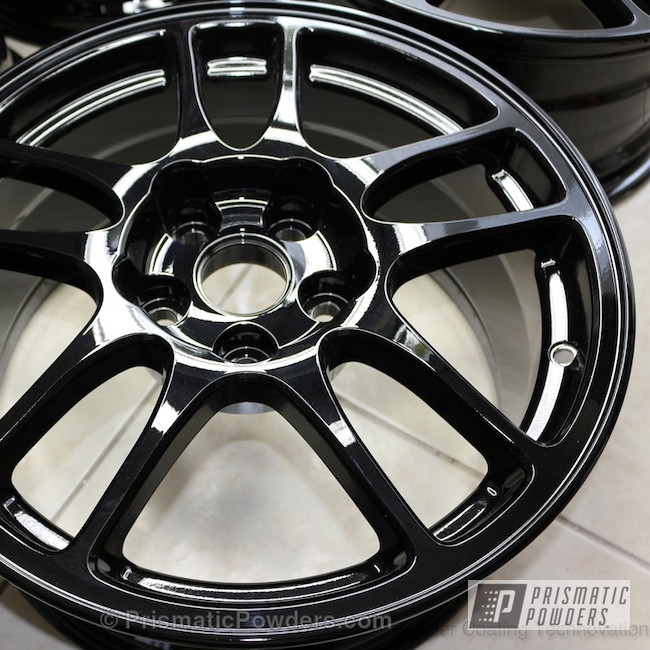 Powder Coating: Automotive,Clear Vision PPS-2974,Multi Stage Application,Ink Black PSS-0106,Custom Brake Caliper,Clear Top Coat,Very Red PSS-4971,Evo IX