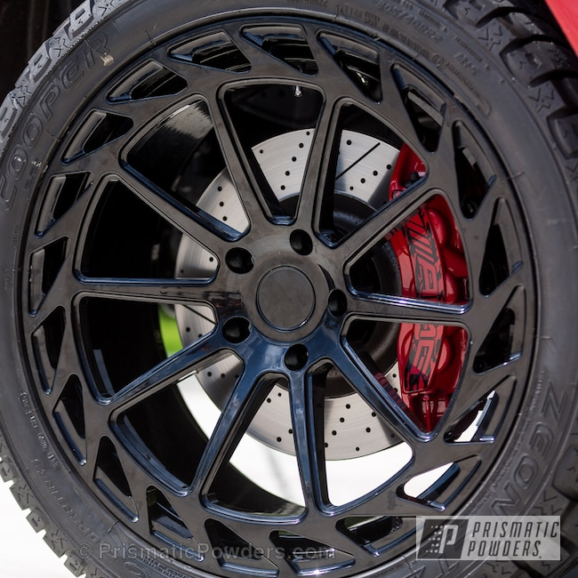 Powder Coating: Automotive,Really Red PSS-4416,Powder Coated AMG Calipers and Custom Wheels,Black Cast PCS-4721