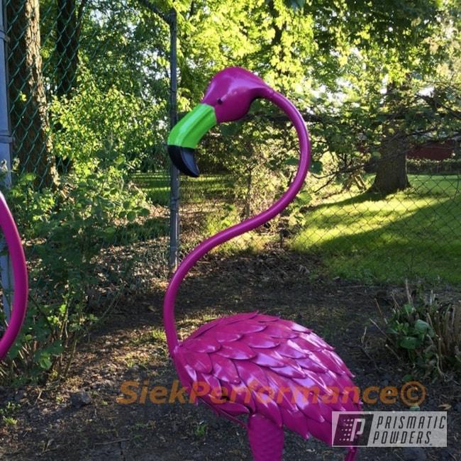 Powder Coating: Energy Green PSB-6669,Ink Black PSS-0106,Art,Powder Coated Garden Flamingos,Lazer Polka Dot Pink PMB-2340