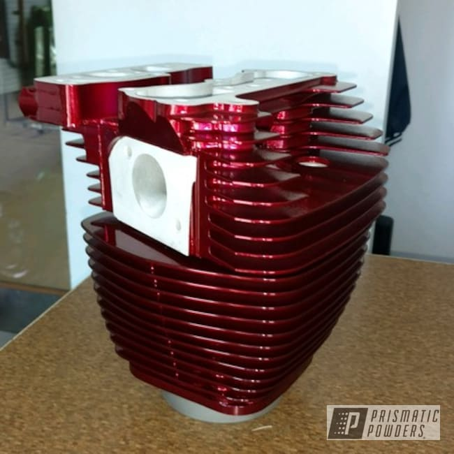 Powder Coating: SUPER CHROME USS-4482,chrome,Motorcycle Cylinder Heads,Chrome Base Coat,Motorcycles,Wizard Red PPS-4690
