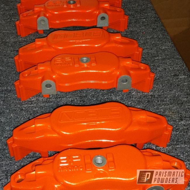 Powder Coating: Automotive,Powder Coated Noble M12 4 Piston Calipers,Striker Gold PPB-6361,Alien Silver PMS-2569