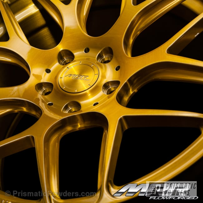 Powder Coating: Wheels,Automotive,Powder Coated MRR Design Brush,Transparent Gold PPS-5139