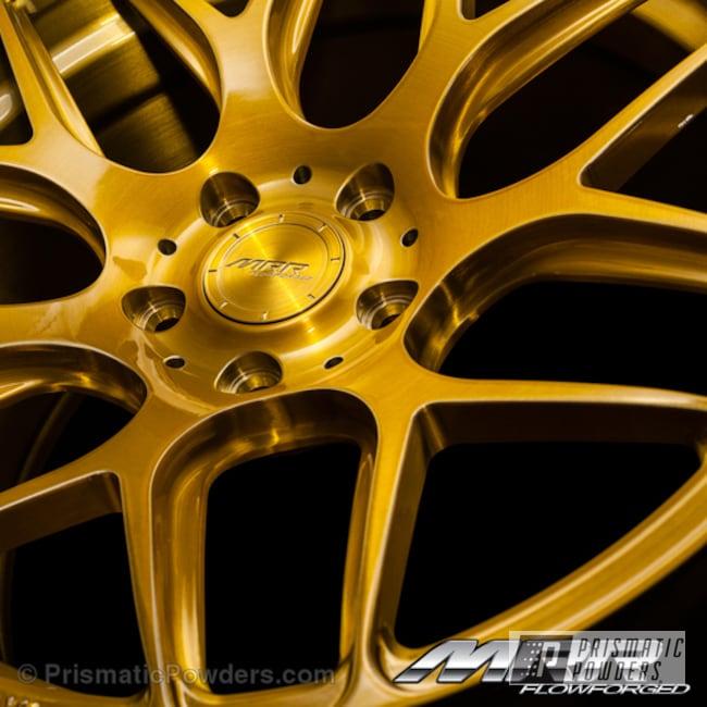 Powder Coating: Wheels,Automotive,Powder Coated MRR Design Brush,Transparent Gold PPS-5139