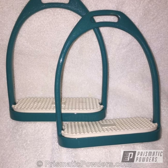 Powder Coating: Fairy Dust Teal PMB-2703,Miscellaneous,Powder Coated Horse Stirrups