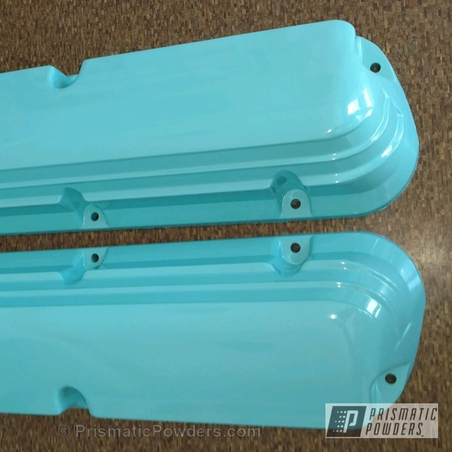 Powder Coating: Single Powder Application,Automotive,Sea Foam Green PSS-4063,Ford Valve Covers,Valve Cover