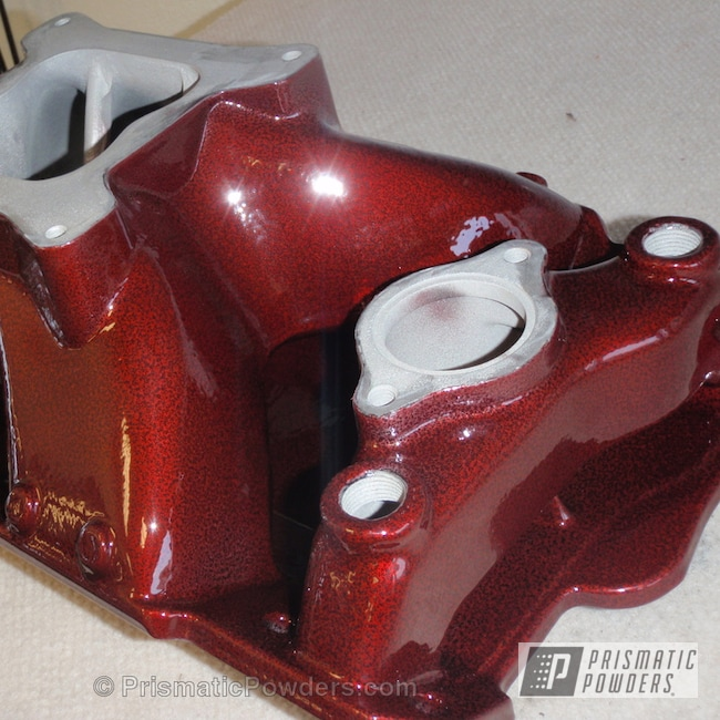 Powder Coating: Automotive,LOLLYPOP RED UPS-1506,Silver Artery PVS-3014,Powder Coated Intake Manifold