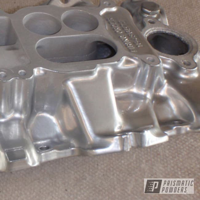 Powder Coating: Automotive,Clear Vision PPS-2974,SUPER CHROME USS-4482,chrome,Powder Coated Intake Manifold