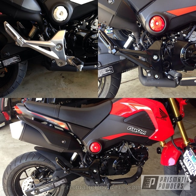 Powder Coating: Ink Black PSS-0106,Powder Coated MSX 125 Honda Grom Components,Motorcycles