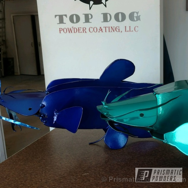 Powder Coating: Custom,JAMAICAN TEAL UPB-2043,Art,Intense Blue PPB-4474,Catfish Ornaments,Single Powder Applications,Miscellaneous