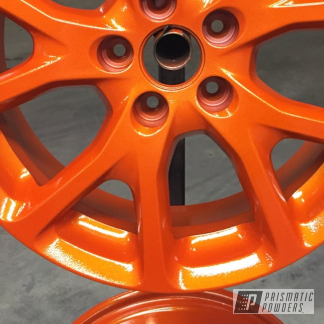 Powder Coating: Wheels,Clear Vision PPS-2974,Powder Coated Wheel,Illusion Tangerine Twist PMS-6964