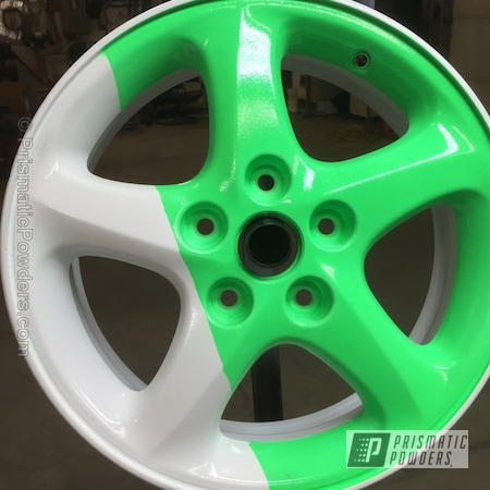 Powder Coating: Wheels,Powder Coated Wheel,Cloud White PSS-0408,Neon Green PSS-1221