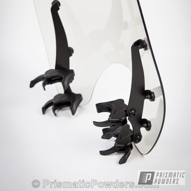 Powder Coating: Powder Coated Motorcycle Windshield Brackets,BLACK JACK USS-1522,Motorcycles