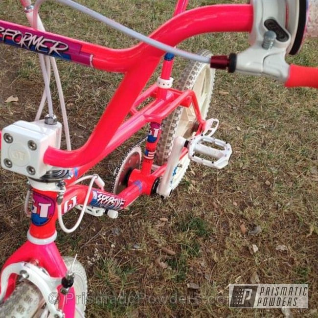 Powder Coating: Bicycles,1987 GT Pro Freestyle Bicycle,Custom Bicycle,Polar White PSS-5053,Corkey Pink PPS-5875