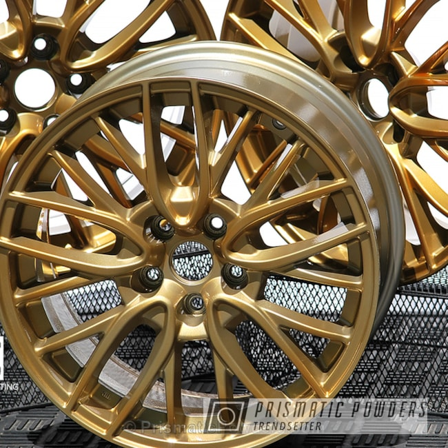 Custom Subaru Wheels Done In A Transparent Gold Finish
