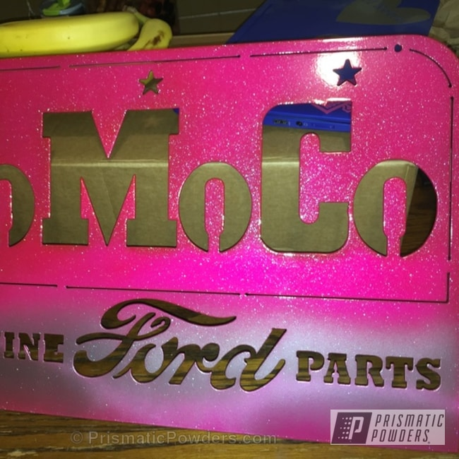 Powder Coating: Chameleon Teal PPB-5733,Powder Coated FoMoCo Sign,Corkey Pink PPS-5875,Miscellaneous