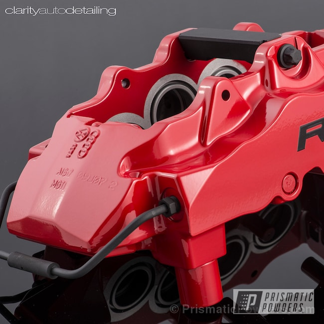Powder Coating: Red Wheel PSS-2694,Automotive,Clear Vision PPS-2974,Powder Coated Audi R8 Calipers