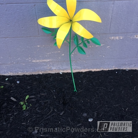 Powder Coating: RAL 1016 Sulfur Yellow,RAL 6032 Signal Green,Powder Coated Flower,Art
