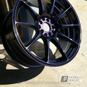 Custom Wheel Using A Purple Metallic Powder Coat Finish