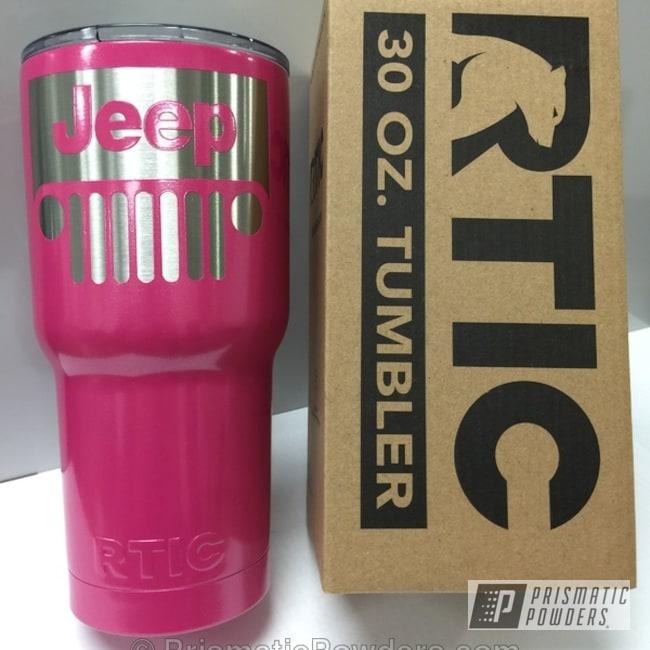 Powder Coating: Powder Coated RTIC Tumber,Lazer Polka Dot Pink PMB-2340,Miscellaneous