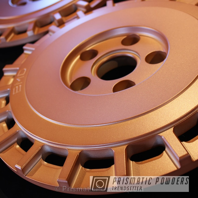 Powder Coating: Automotive,Copper Coin PPB-7009,Powder Coated Barramundi Design Wheels over Brushed Aluminum