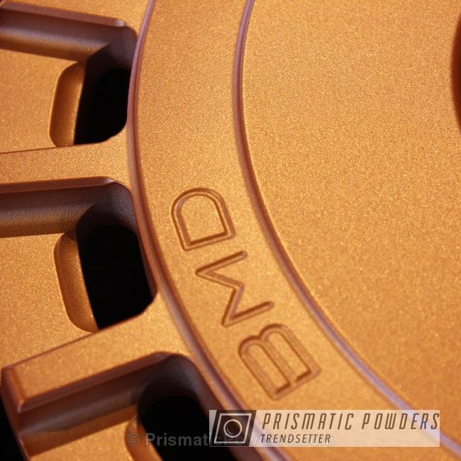 Powder Coating: Automotive,Copper Coin PPB-7009,Powder Coated Barramundi Design Wheels over Brushed Aluminum