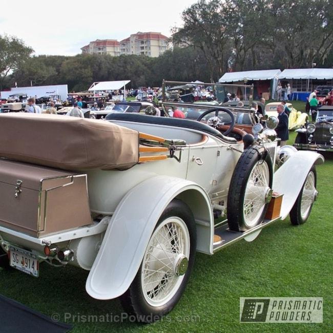 Powder Coating: Wheels,Butter Cream PSB-6751,Powder Coated 1914 Rolls Royce Wheels