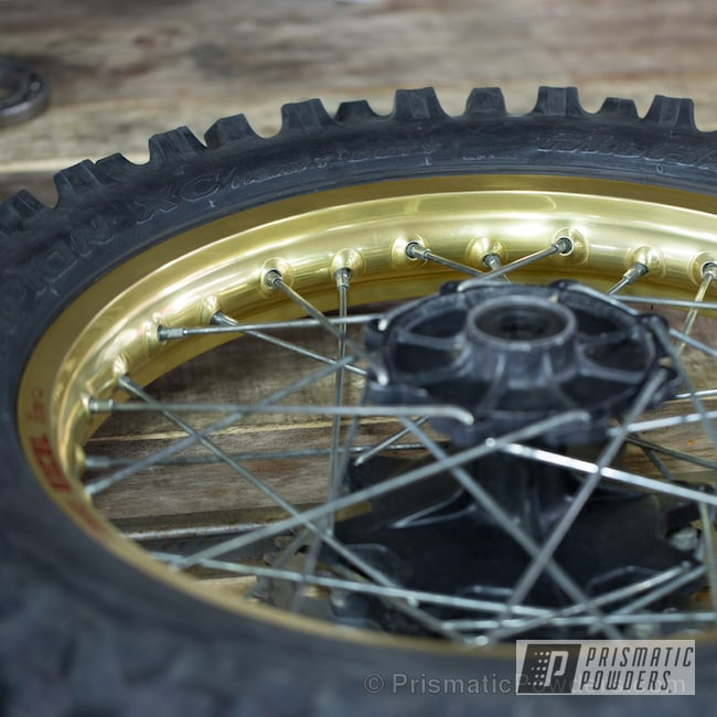 Powder Coating: Wheels,Transparent Brass PPS-5159,Motorcycles,Powder Coated Honda CR Excel Wheels
