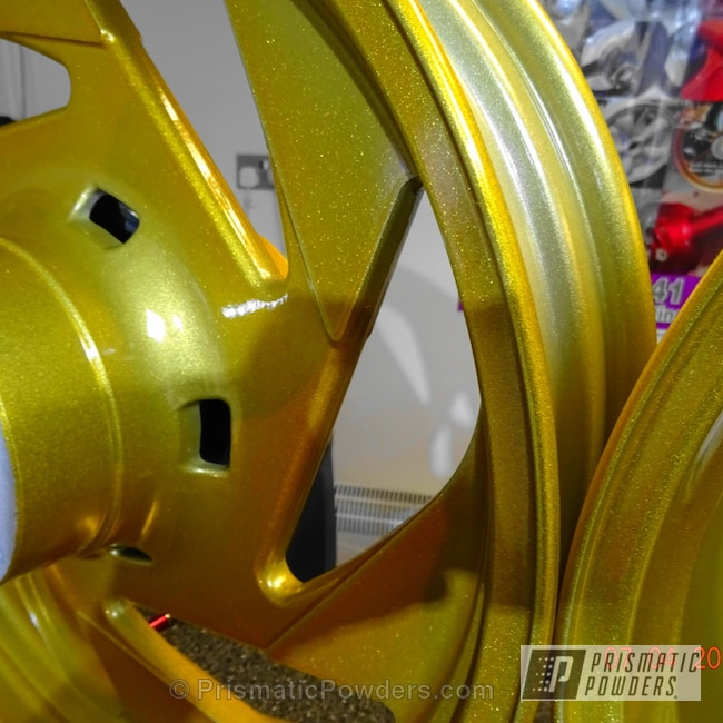 Powder Coating: Powder Coated Alloy Motorcycle Wheel,Zerrin Gold PPB-6800,Motorcycles