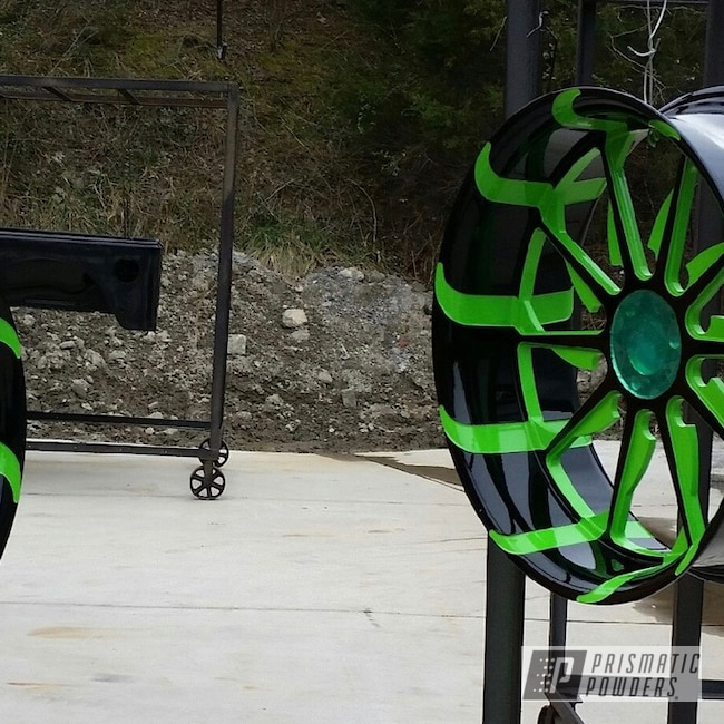 Powder Coating: Wheels,Clear Vision PPS-2974,Energy Green PSB-6669,Ink Black PSS-0106,Powder Coated Wheels,Custom 2 Coats
