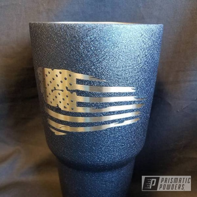 Powder Coating: Single Powder Application,Splatter Midnight PWB-2880,Custom Cup,Textured,American Flag Theme,Miscellaneous