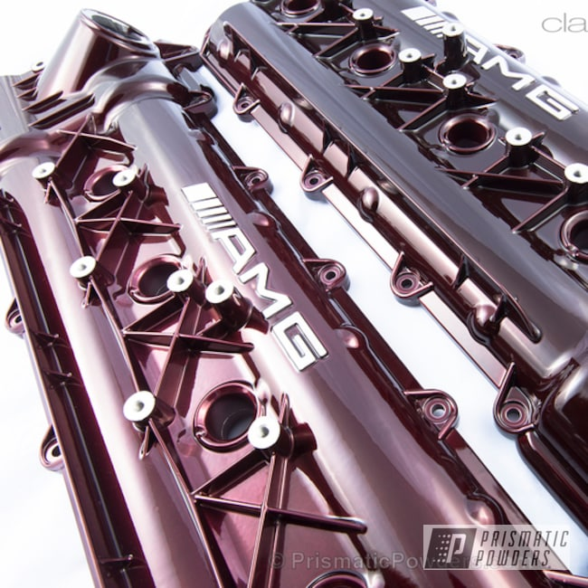 Powder Coating: Automotive,Rose Cherry PPB-4437,Powder Coated Mercedes AMG Valve Covers,Valve Cover