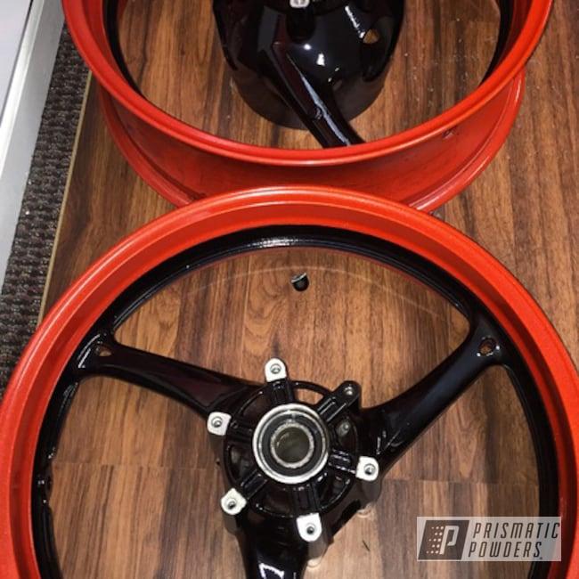 Powder Coating: Powder Coated GSXR Wheels,Clear Vision PPS-2974,GLOSS BLACK USS-2603,Custom 2 Coats,Hot Orange Sparkle PMB-6311