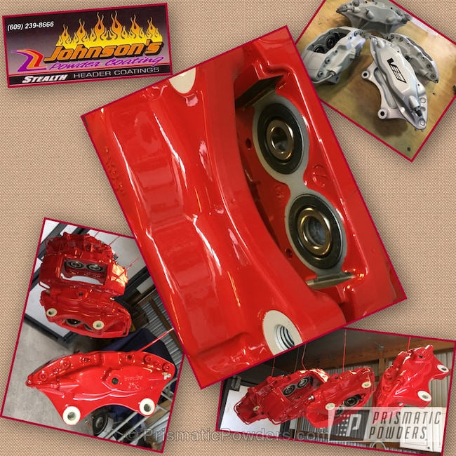 Powder Coating: Powder Coated Brembo Brake Calipers,Red Wheel PSS-2694,Automotive