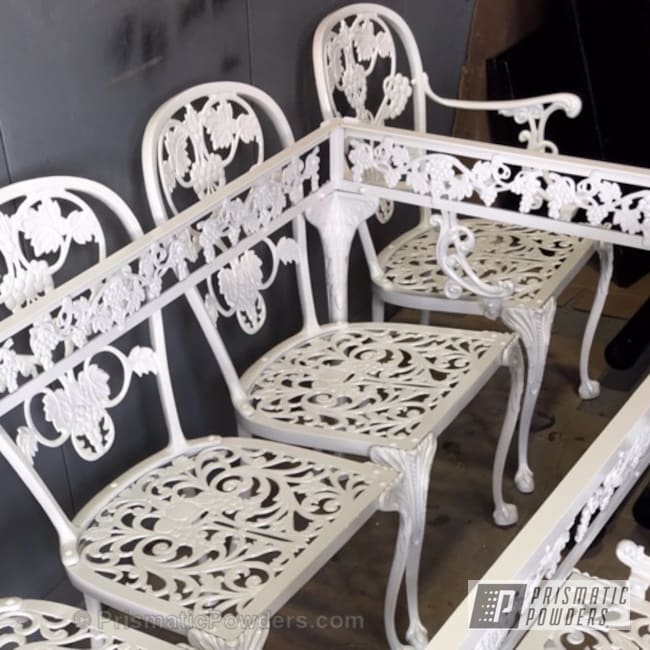 Refinished Antique Furniture Using Our Pearlized White Ii Powder Coat