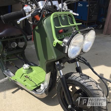 Powder Coating: Powder Coated Honda Ruckus,RAL 6025 Fern Green,GLOSS BLACK USS-2603,Motorcycles