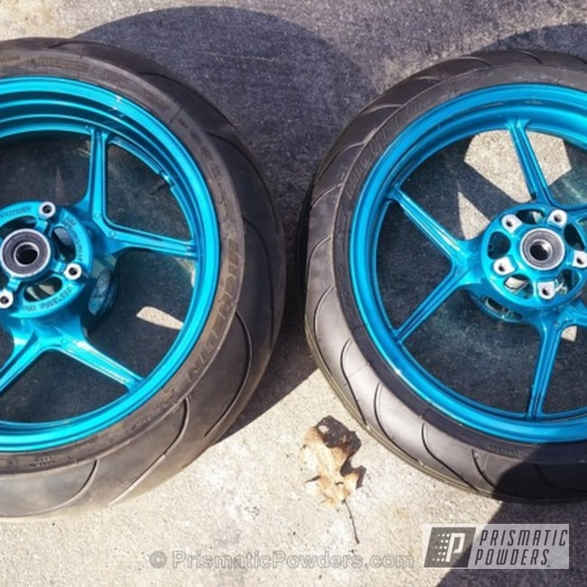 Powder Coating: Clear Vision PPS-2974,JAMAICAN TEAL UPB-2043,Powder Coated Motorcycle Wheels,Motorcycles